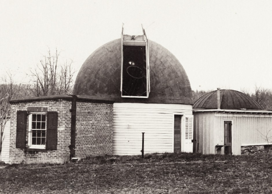 The original observatory is to the right and the second observatory in the center
